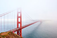 Golden Gate Bridge view at foggy day