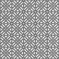 Seamless pattern based on japanese woodwork art.Black and white color.Double lines.