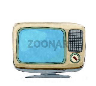 Watercolor retro tv set