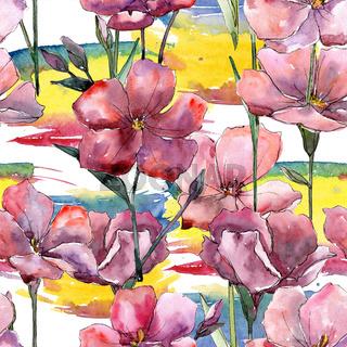 Wildflower pink flax. Floral botanical flower.Seamless background pattern.