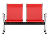 red waiting chairs isolated on white background