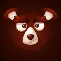 Cute, funny, crazy -cartoon face bear.
