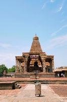 Nandi mandapa, Brihadisvara Temple, Tanjore, Tamil Nadu. View from East.