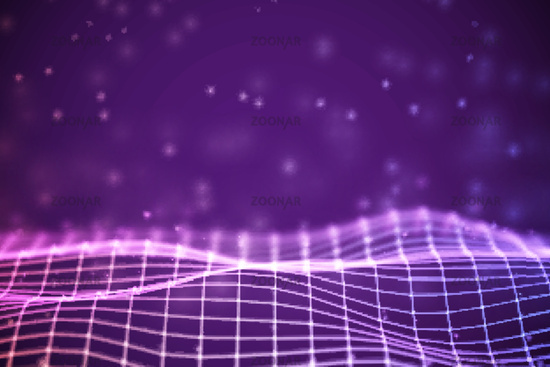 Virtual reality concept: 3D Purple digital wireframe grid with floating particles.