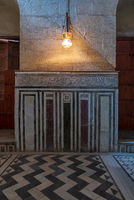 Marble wall decorated with geometrical and floral patterns at Sultan al Ghuri Mausoleum, Cairo, Egypt