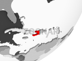 Haiti in red on grey map