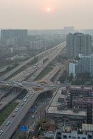 Chengdu RenNan interchange at sunset