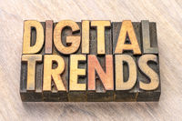 digital trends word abstract in wood type