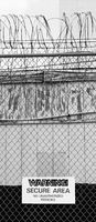 Barbed Wire Fence Warning Secure Area Sign No Authorized Persons