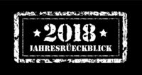 Jahresruckblick 2018. Review of the year, stamp. German text. Annual report. Vector illustration