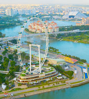 Singapore Flyer river aerial view