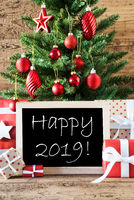Colorful Christmas Tree With English Text Happy 2019