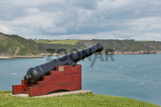 Memorial cannon in Tenby, Wales, UK.