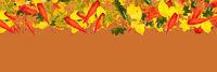 Panorama Hintergrund mit Rand aus Herbst Blättern
