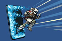 Scientific online applications concept. Astronaut runs through a smartphone