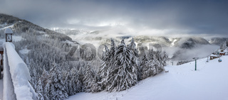 Panorama view into the snow-covered Valle Aurina