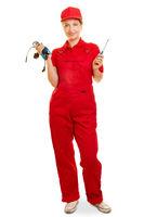 Frau als Elektroinstallateur oder Elektriker