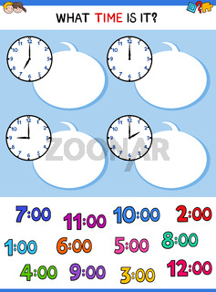 telling time clock face educational game