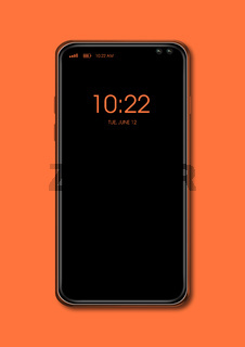 All-screen black smartphone mockup isolated on orange. 3D render