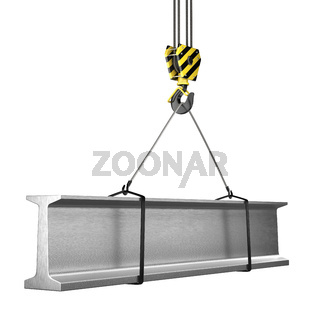 3D rendering of a crane hook with a load