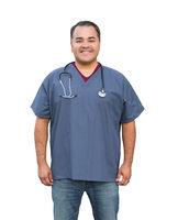 Hispanic Male Nurse Isolated On White
