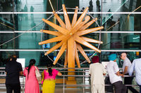 Wood charkha (spinning wheel) at New Delhi International Airport