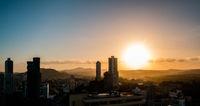 sunset sky above Panama City -  cityscape panorama view