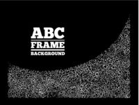 Frame created from the letters of different sizes. ABC text frame vector design on black background