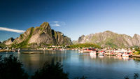 Panoramic view to Reine village and Glavdalsbukta, Lofoten, Norway