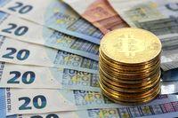Bitcoin coins EU Euro banknotes