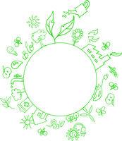 eco symbols around an empty circle