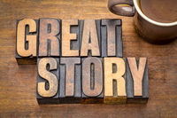 great story word abstract in vintage wood type