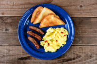 Scrambled Eggs with Peppers Toast and Sausage