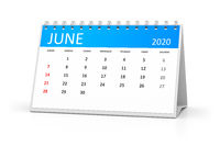table calendar 2020 june