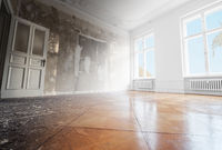 home renovation, empty room before and after refurbishment or restoration  -