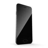 3D rendering black matt smart phone with black screen