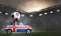 Iceland car on football stadium