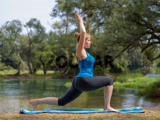woman meditating and doing yoga exercise