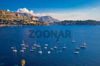 Villefranche sur Mer idyllic French riviera bay and Cap Ferrat view