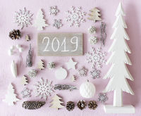 Pink And White Christmas Decoration, Flat Lay, Text 2019