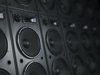 Multimedia  acoustic sound speaker system. Music  concept background.