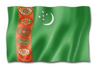 Turkmenistan flag isolated on white