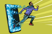 hipster man running Phone gadget smartphone. Online Internet application service program