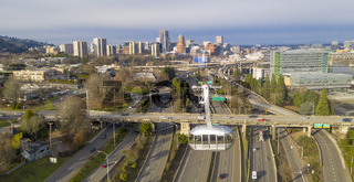 Over the Highway Portland Oregon People Mover Tram