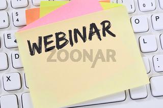 Webinar online Schulung Internet Seminar Lehrgang Kurs Workshop lernen Bildung Business Konzept Notizzettel