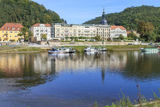 Bad Schandau mit Elbufer, Sächsische Schweiz, Sachsen, September