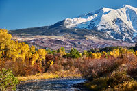 Mount Sopris autumn landscape in Colorado