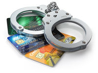 Credit card with handcuffs isolated on white background.  Banking financial crime  and accounting fraud concept.