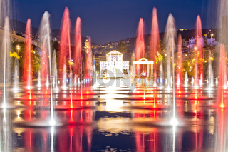 City of Nice cityscape and Fontaine Miroir d eau park evening view