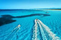 Speed motorboats on the seashore in Mallorca, Spain